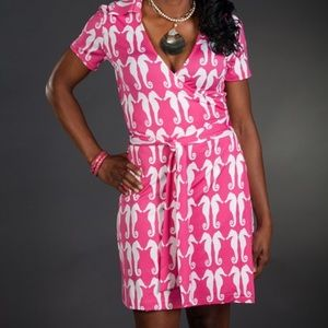 Pink Seahorse Wrap dress Small NWT